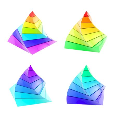 physiological: Set of four colorful segmented pyramid isolated Stock Photo
