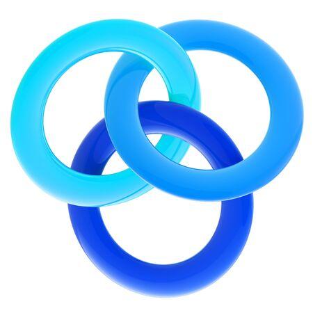 interlinked: Resumen emblema brillante hecha de anillos entrelazados Foto de archivo