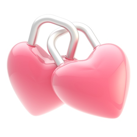 Two linked heart shaped locks isolated photo