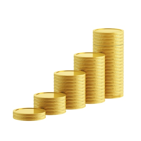 coin stack: Growth as a stacks of golden coins isolated