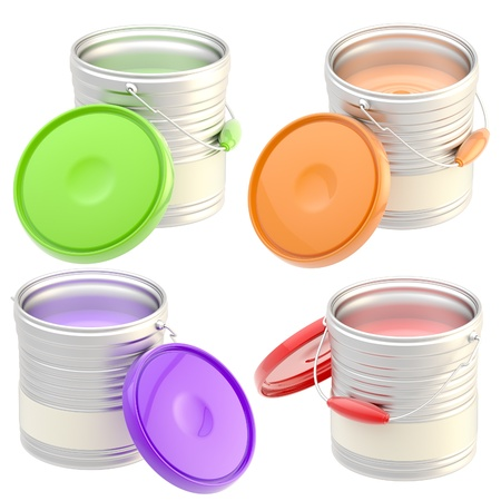 Set of four paint buckets isolated photo