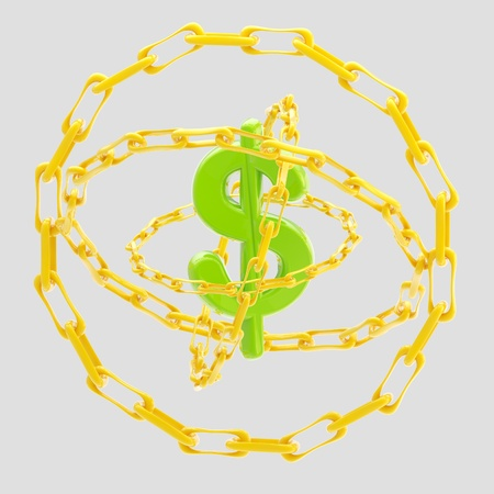 Dollar sign encircled with golden chains isolated photo