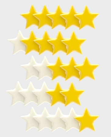 Rating system from one up to five stars photo