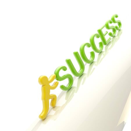 uphill: Human figure pushing the word  success  uphill