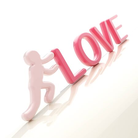 uphill: Human figure pushing the word  love  uphill Stock Photo