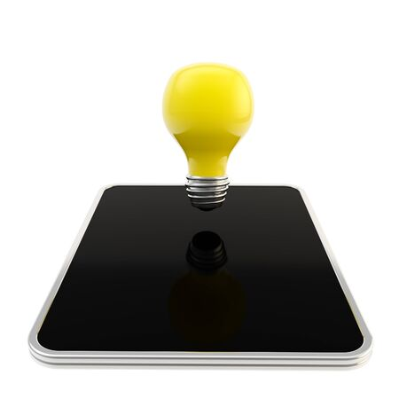 Yellow bulb above the pad screen Stock Photo - 13145564