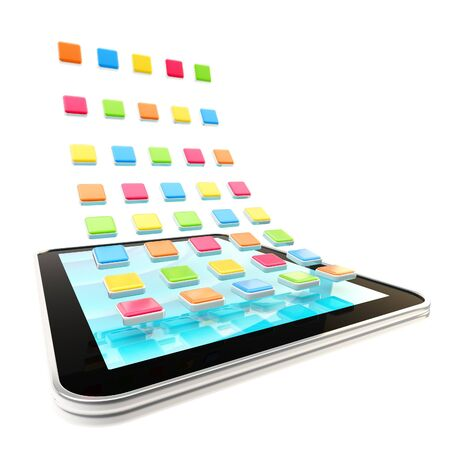 Mobile pad computer with application empty icons isolated on white photo
