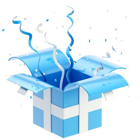 cadeaupapier: Geschenkdoos met kleurrijke lint, serpentijn en confetti geïsoleerd op wit