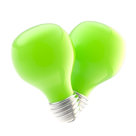 Safe energy as two green bulbs Stock Photo - 13145529