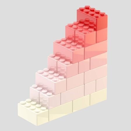 Steps made of toy bricks isolated photo
