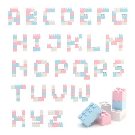 Alphabet set made of toy blocks isolated photo