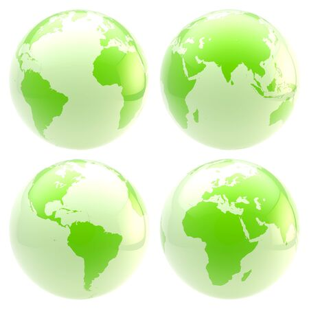 Eco green planet  set of four glossy globes isolated on white photo