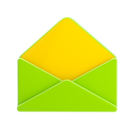Blank green and yellow glossy envelope isolated Stock Photo - 13159854