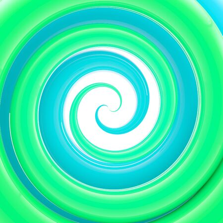 Glossy plastic green and blue twirl, whorl as an abstract background