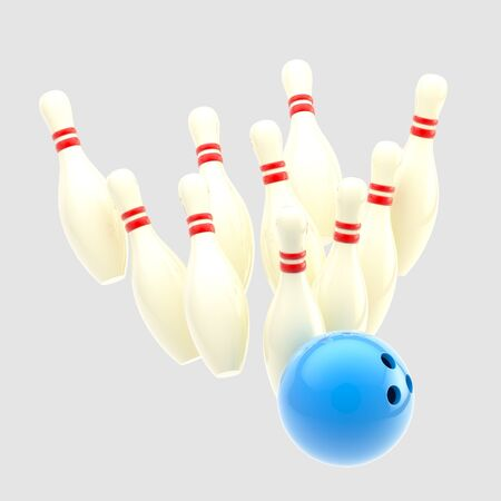 Bowling blue ball smashing to pins isolated photo