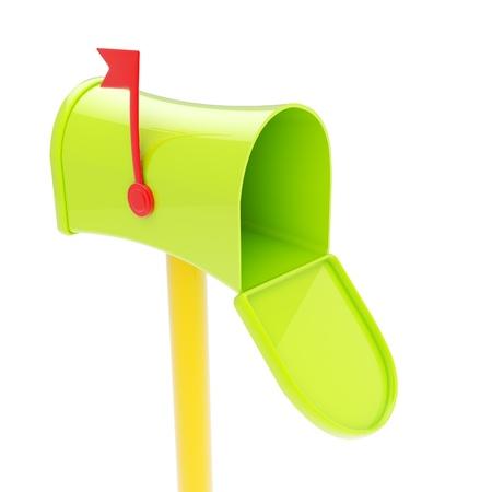 Glossy green plastic postbox