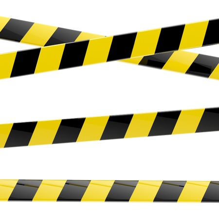 warning attention sign: Black and yellow glossy barrier tapes  isolated Stock Photo