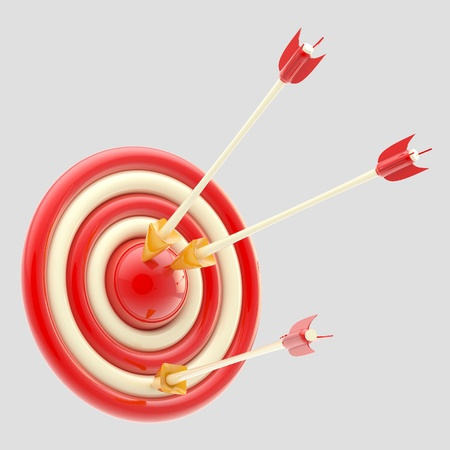 Glossy arrows in the red target isolated photo