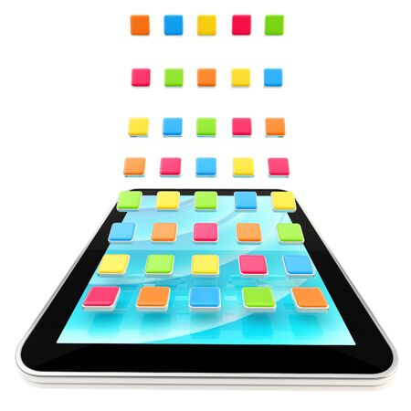 Mobile pad computer with applications Stock Photo - 13228557