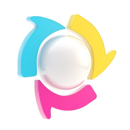 Three symbolic arrow spin around sphere