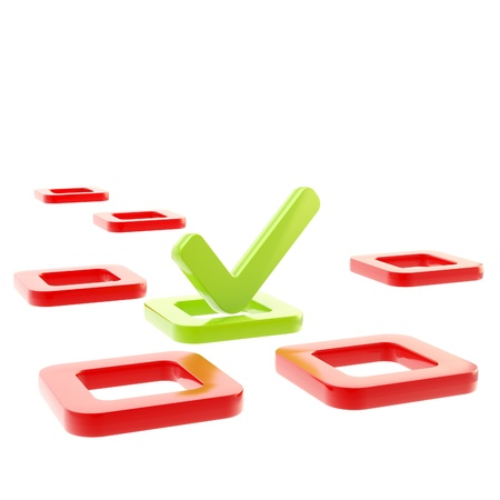 to do list: To do list, glossy tick in check box isolated on white