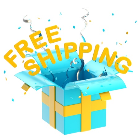 christmas bonus: Word  free shipping  inside a gift box Stock Photo