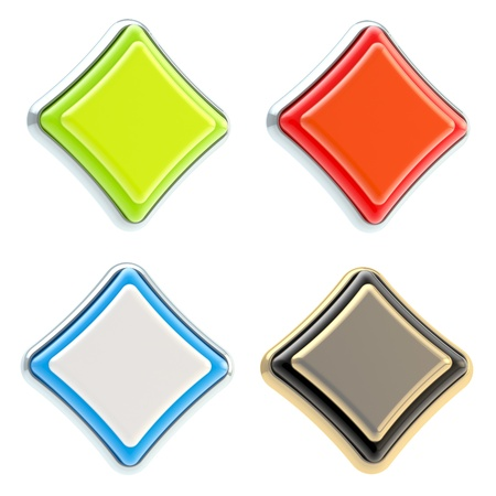 Set of four rhombus buttons isolated Stock Photo - 13229255