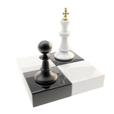 mind games: Chess icon illustration of pawn and king