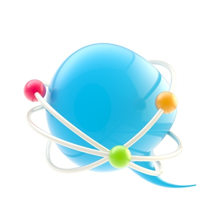 Science seminar conference symbol as text bubble inside an atomic structure isolated photo