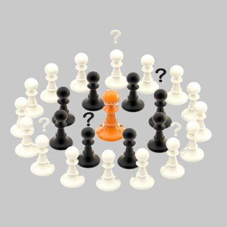 communicaton: Interracial issues  chess pawns isolated on grey