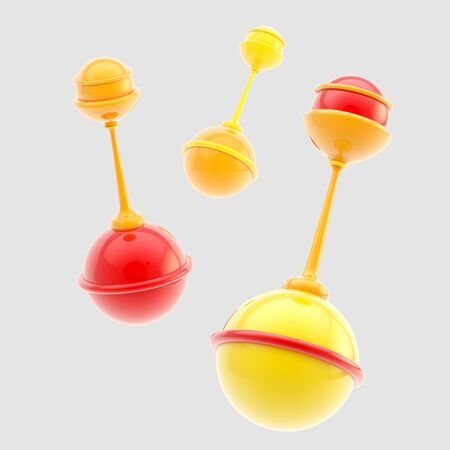 rattles: Set of three glossy rattles isolated Stock Photo
