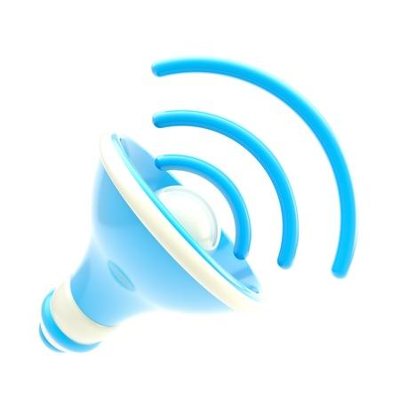 Stylized dynamic blue speaker isolated Stock Photo - 13243375