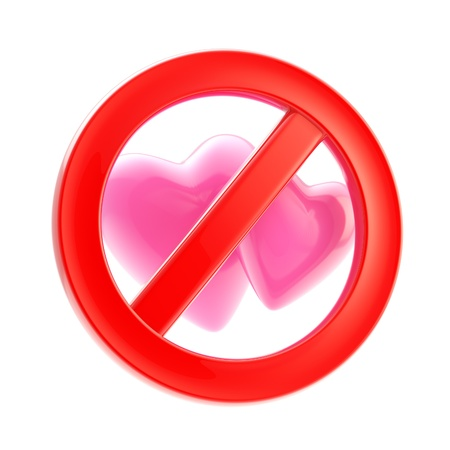 Lesbian forbidden red glossy sign isolated Stock Photo - 13243400