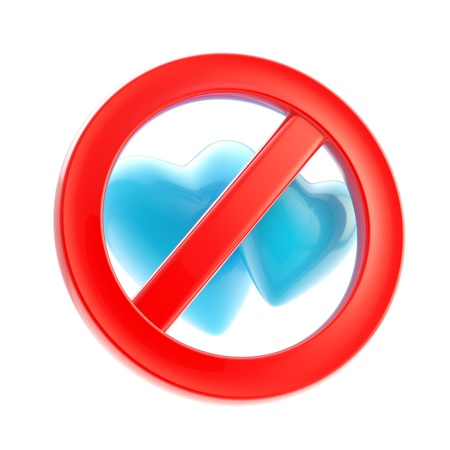 Gay forbidden red glossy sign isolated Stock Photo - 13243428