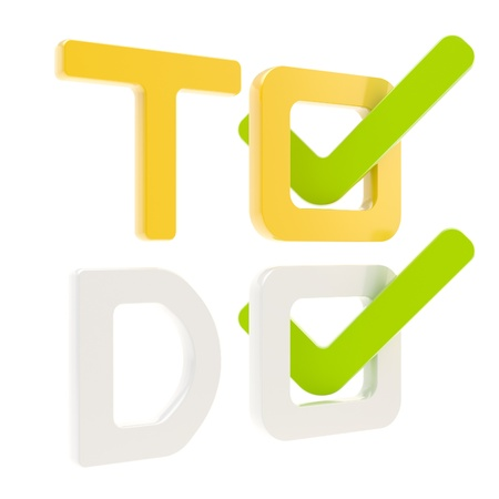 To do list, tick in check box isolated photo