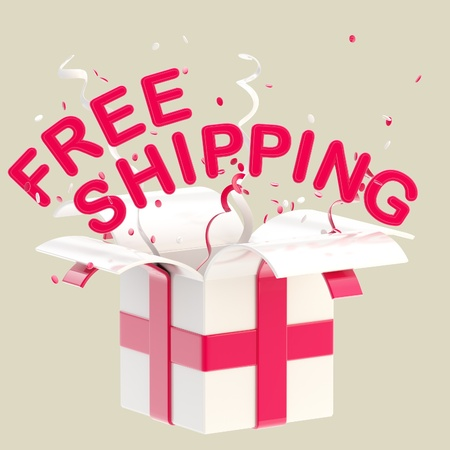 Word  free shipping  inside a gift box photo