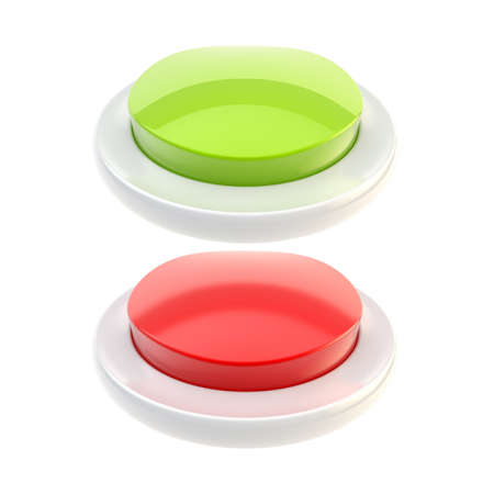 Red and green glossy buttons isolated photo