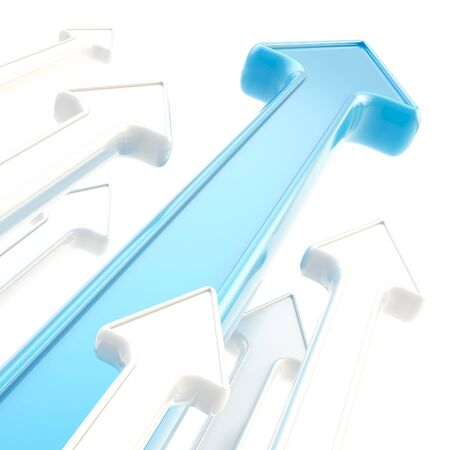 business results: Abstract background of glossy arrows on white Stock Photo