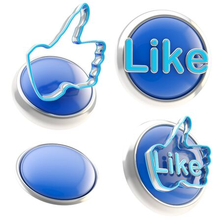 Set of four blue glossy like buttons isolated on white Stock Photo - 13279141
