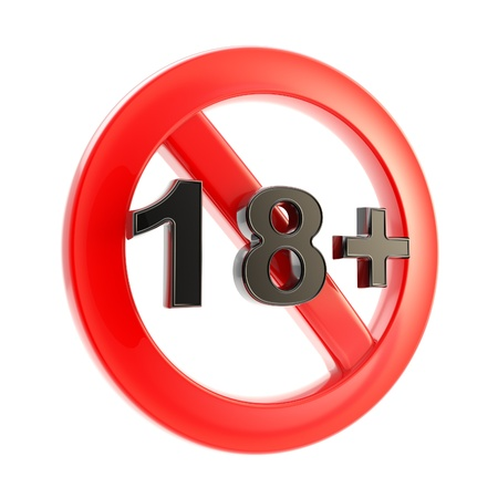 not permitted: Adult content as age limit  18   round symbol sign isolated on white Stock Photo