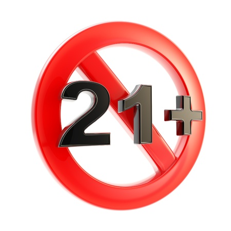 not permitted: Age limit  21   round symbol isolated