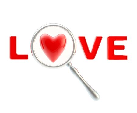 word love: Word love under the magnifier isolated