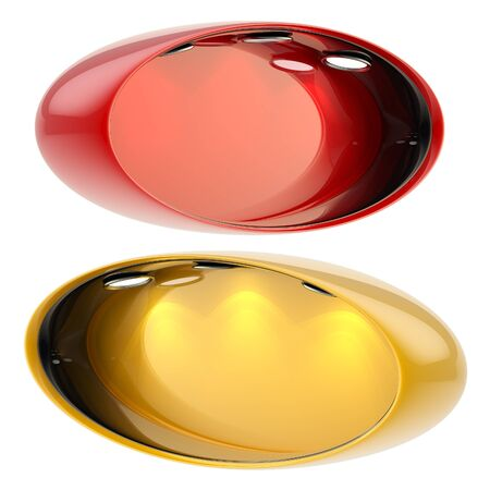 Shop window copyspace oval red and orange showcase with backlight illumination, set of two isolated on white photo