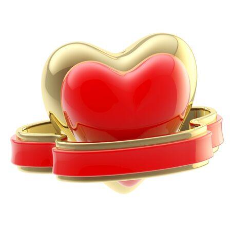 Shiny heart symbol with ribbon isolated Stock Photo - 13279067