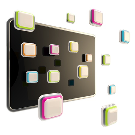 Colorful application icons surround a black glossy computer pad flat srceen photo