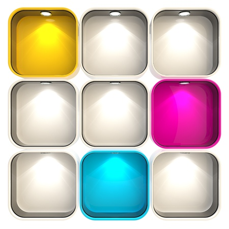 shop show window: Shop window copyspace showcase with backlight illumination, set of nine isolated on white Stock Photo