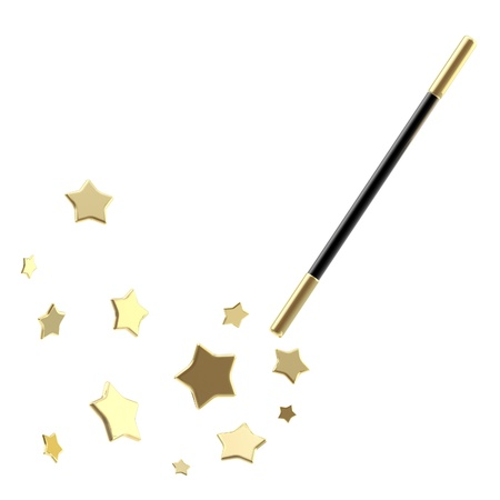 magical equipment: Black magic wand with stars isolated Stock Photo