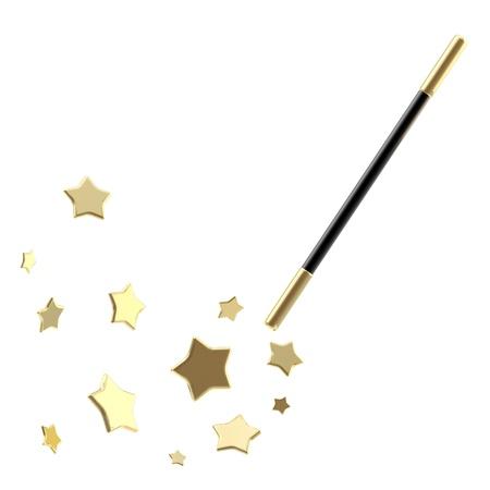 Varita mágica negro con estrellas aisladas Foto de archivo