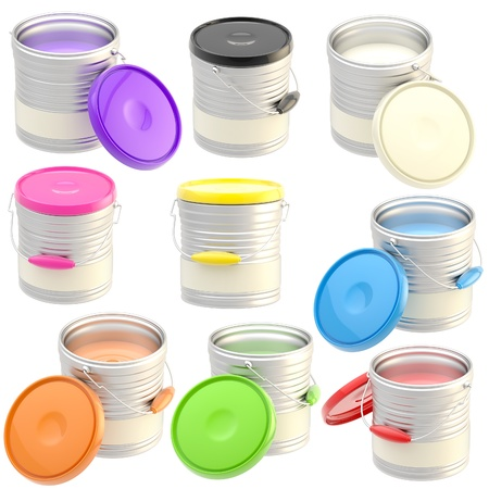Set of nine glossy colorful paint buckets isolated on white photo