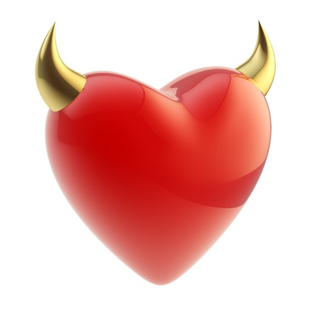 Heart symbol with horn isolated photo